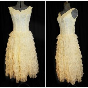 Alden's VTG 50s Ivory Lace Wedding Prom Gown XS